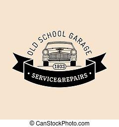 Car repair logo with retro automobile illustration. Vector...