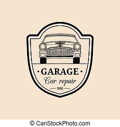 Car repair logo with retro automobile illustration. Vector vintage hand drawn garage, auto service ad poster, card etc.
