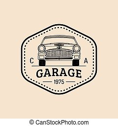 Car repair logo with retro automobile illustration.