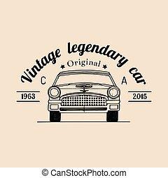 Car repair logo with retro automobile illustration.