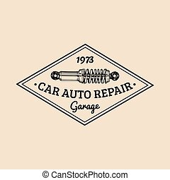 Car repair logo with shock absorber illustration. Vector vintage hand drawn garage, auto service advertising poster etc.