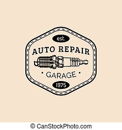 Car repair logo with spark plug illustration. Vector vintage hand drawn garage,auto service advertising poster,card etc.