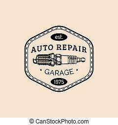 Car repair logo with spark plug illustration. Vector vintage hand drawn garage, auto service advertising poster, card etc.