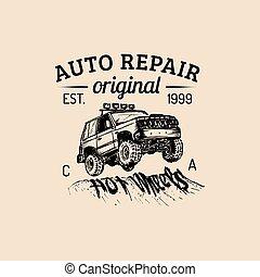 Car repair logo with SUV illustration. Vector vintage hand drawn garage,auto service ad poster etc. Off-road car sketch.