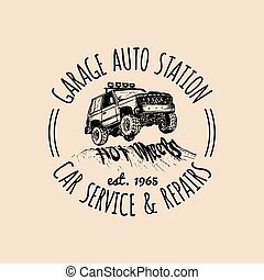 Car repair logo with SUV illustration. Vector vintage hand drawn garage,auto service ad poster etc. Off-road car sketch.