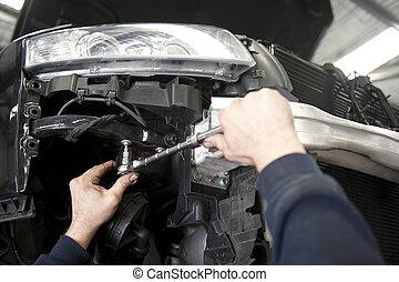 Car repair mechanic at auto garage