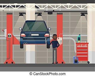 Car repair or diagnostic.Vehicle at lift, elevator