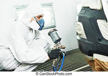 car repair painting in chamber - automobile repairman...