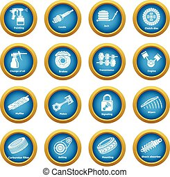 Car repair parts icons set, simple style