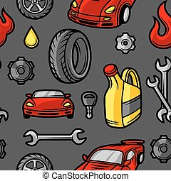 Car repair seamless pattern with service objects and items