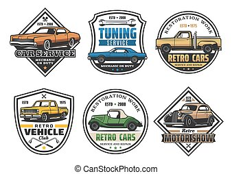 Car repair service and vehicle tuning retro icons