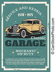 Car repair service, auto mechanic garage station