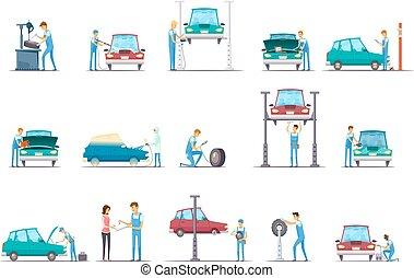 Car Repair Service Cartoon Icons Collection