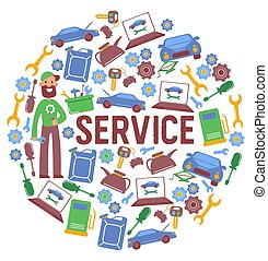 Car repair service center poster, vector illustration. ...