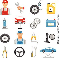 Car Repair Service Flat Icons Set