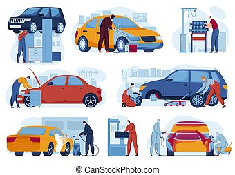 Car repair service for auto set of vector illustrations. Mechanics in auto garage tuning, car diagnostics. Wrench vehicles repairing.