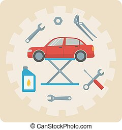 Car repair service icons