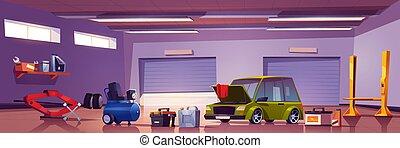 Car repair service mechanic box with automobile