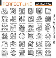 Car repair service outline mini concept symbols. Modern stroke linear style illustrations set. Perfect thin line icons.