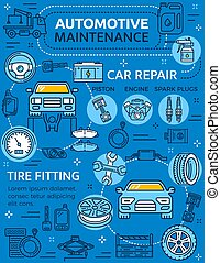 Car repair service poster with vehicle and parts