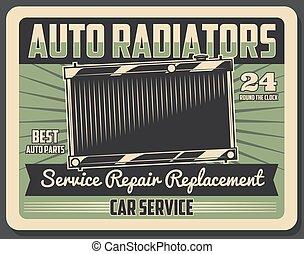Car repair service retro poster with auto radiator