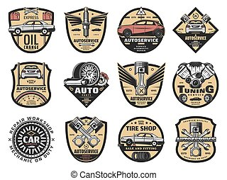 Car repair, service station and store icons