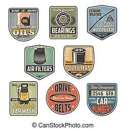 Car repair service vector retro icons