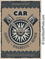 Car repair service vector retro poster