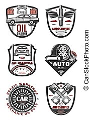 Car repair shop and auto service vintage badges