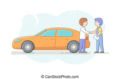 Car Repair Shop Concept. Cheerful Mechanic In Uniform And Satisfied Car Owner Are Shaking Hands. Repairman Presents Made Job With Customer Vehicle. Cartoon Linear Outline Flat Vector Illustration