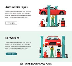 Car repair shop station vector banner, repairman working, workshop garage