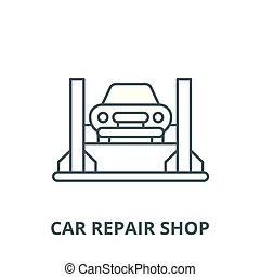 Car repair shop vector line icon, linear concept, outline sign, symbol