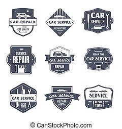 Car Repair - vintage vector set of logos