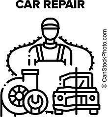 Car Repair Work Vector Black Illustration