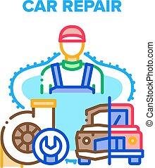 Car Repair Work Vector Concept Color Illustration