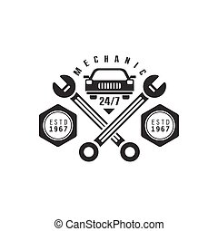 Car Repair Workshop Black And White Label Design Template With Crossed Wrenches