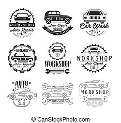 Car Repair Workshop. Classic Style Vector Monochrome Graphic Design Logo Set With Text On White Background
