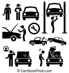 A set of human pictogram representing a mechanic fixing and servicing a car in his workshop. There is a also a customer where his car is breakdown and he is calling the mechanic for help.