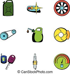 Car repairing icons set, cartoon style