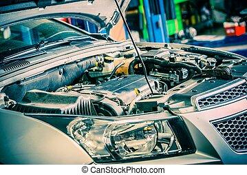Car Repairing. Modern Compact Car with Open Hood. Car Under ...