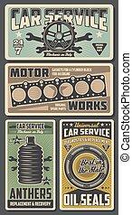 Car repairing service retro posters for garage - Car repair...