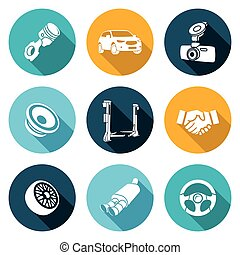 Car Repairs and Maintenance Icons Set. Vector Illustration.