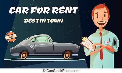 car, retro, cartaz, aluguel, caricatura, melhor