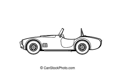 Car retro line draw