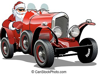 car, retro, natal, caricatura