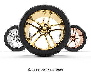 Car rims - 3d rendered illustration of some rims