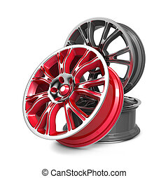Car Rims. - Car Rims, Red and Gray Rims isolated on White.