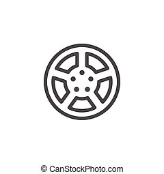 Car rims line icon isolated on white. Vector illustration
