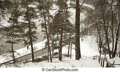 car river floe snow park - cars going near neris river floe...