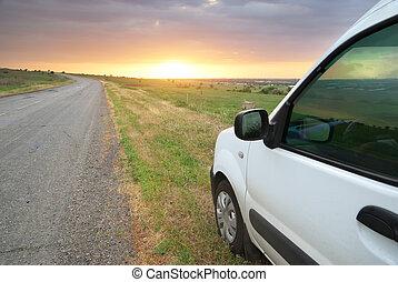 car, road.